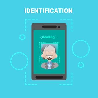 Smart phone loading face identification system scanning man user access control moderne technologie