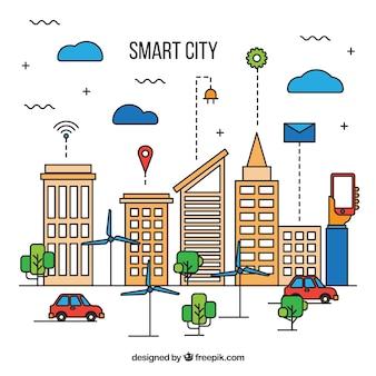 Smart stad met wolkenkrabbers achtergrond in lineaire stijl