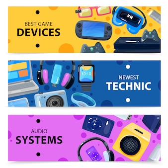 Smart technics banners set