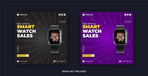 Smart watch-verkoopcollectie social media post instagram-bannersjabloon