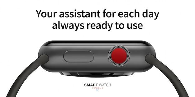 Smart watch zwart matte kleur vanaf de zijkant.