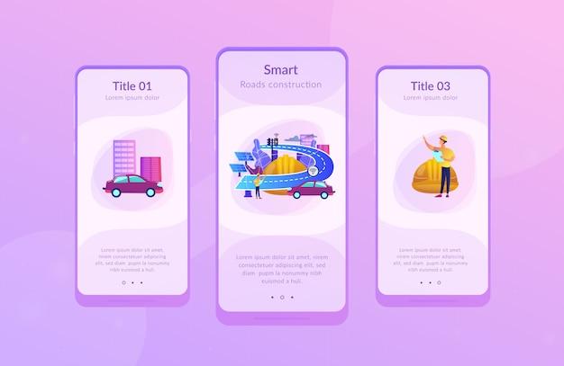 Smart wegen constructie app interface sjabloon.