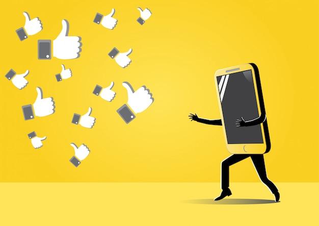 Smartphone achter het symbool van een achtervolging
