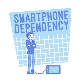 Smartphone afhankelijkheid illustratie