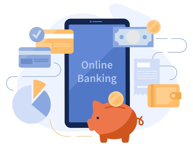 Smartphone-app voor internetbankieren. munten, spaarvarken, portemonnee en creditcards