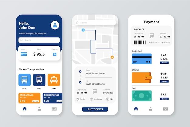 Smartphone-app voor sjabloon voor openbaar vervoer