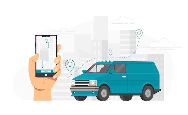 Smartphone-app voor voedselbezorging die koerier volgt tegen de skyline van de stad