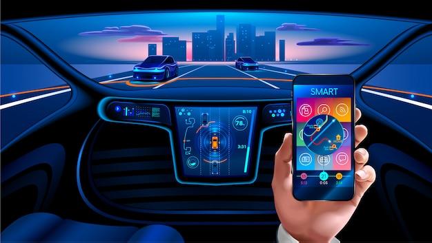 Smartphone-applicatie om de slimme auto via internet te bedienen. beveiligingssysteem slimme auto
