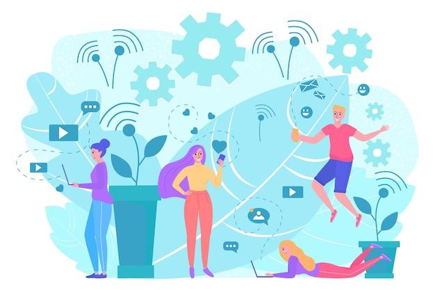 Smartphone bericht concept vector illustratie plat gelukkig man vrouw karakter gebruik telefoon voor online t...