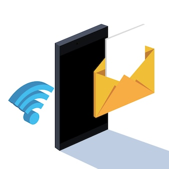 Smartphone-berichten e-mailen wifi-technologie
