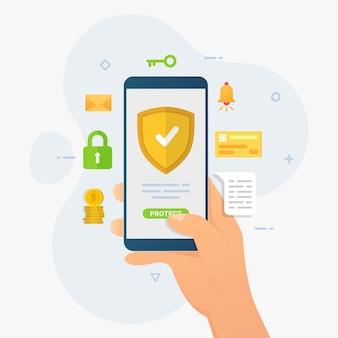 Smartphone bescherming ontwerp concept mobiel apparaat beveiliging illustratie