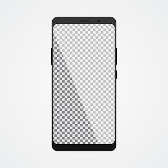 Smartphone bespotten met transparant scherm op wit