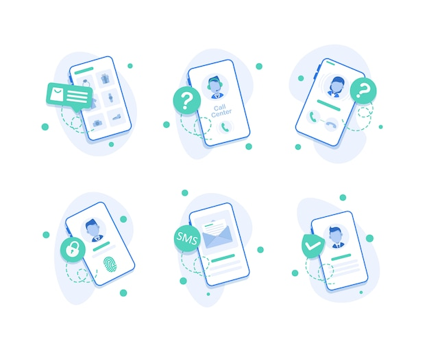 Smartphone call center pictogram, call center operator pictogrammen, plat ontwerp van de smartphone met inkomende oproep op het scherm