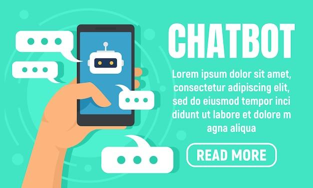 Smartphone chatbot banner, vlakke stijl