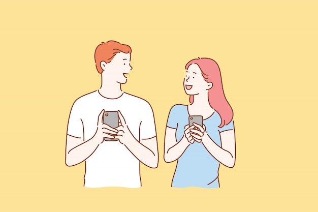 Smartphone, communicatie, online, relatieconcept.