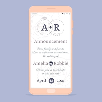 Smartphone-concept van de huwelijksaankondiging uitgesteld