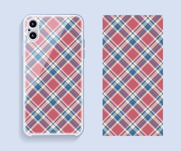 Smartphone cover ontwerp mockup. sjabloon geometrisch patroon voor de achterkant van de mobiele telefoon. plat ontwerp.