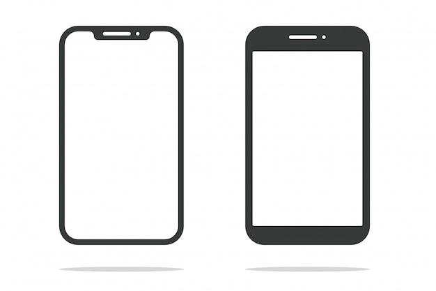 Smartphone de vorm van een moderne mobiele telefoon ontworpen om een dunne rand te hebben.