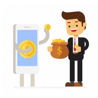 Smartphone die geldmuntstuk geeft aan de bedrijfsmens