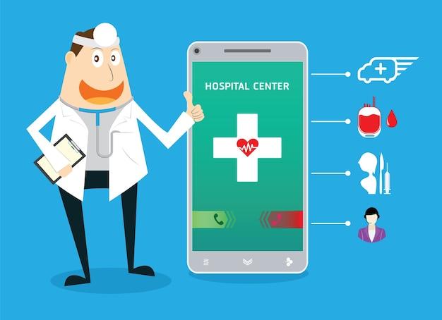 Smartphone-display oproep naar ziekenhuiscentrum met medische pictogrammen