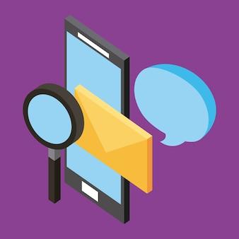 Smartphone e-mail communicatie analyse isometrisch