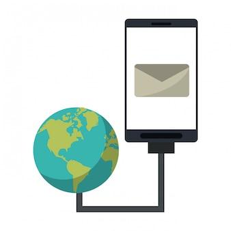 Smartphone-e-mailsymbool en internet op het wereldnetwerk