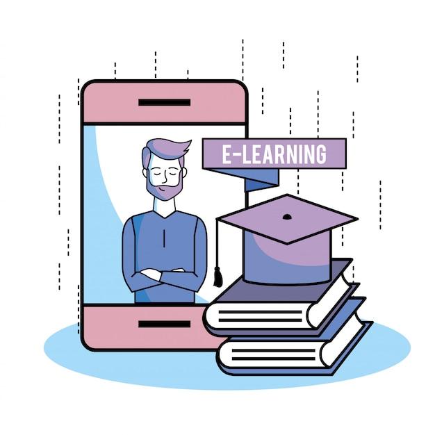 Smartphone en man bellen video om te studeren met boeken