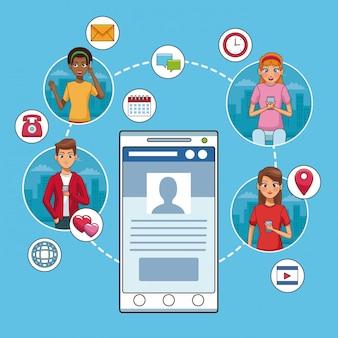 Smartphone en sociaal netwerk