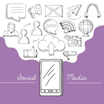 Smartphone en social media iconen Premium Vector