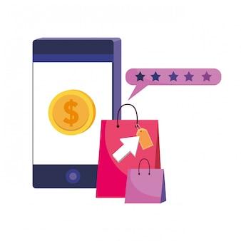Smartphone en winkel pictogram illustratie