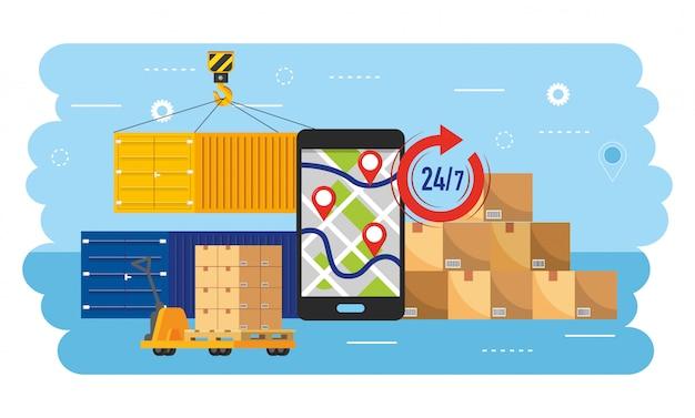 Smartphone gps-kaart met containers en dozenpakketten