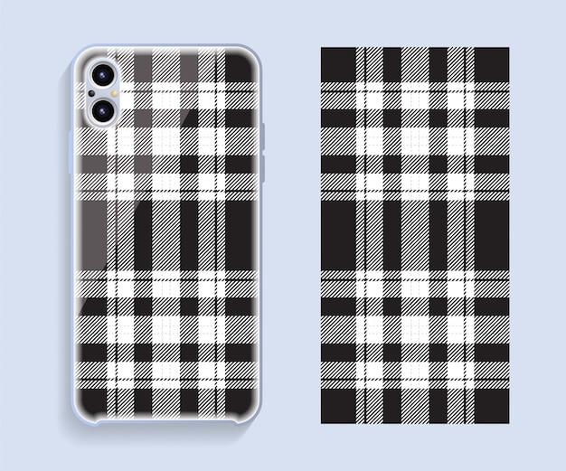 Smartphone hoes. sjabloon geometrisch patroon voor de achterkant van de mobiele telefoon. plat ontwerp.