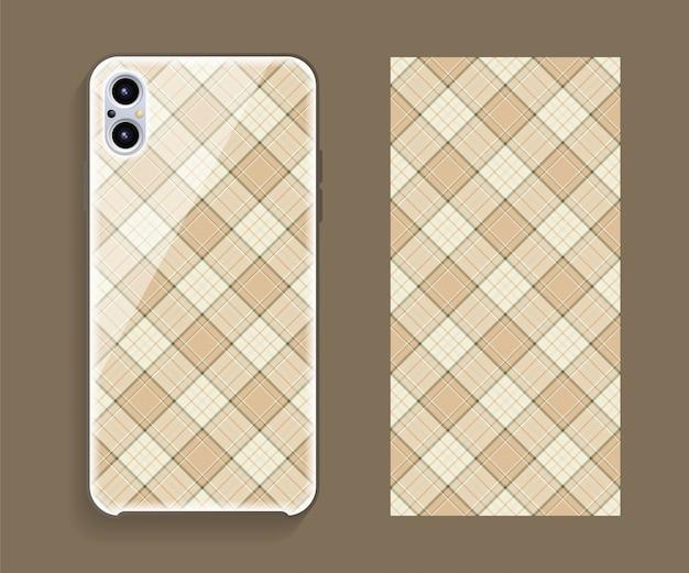 Smartphone hoes. sjabloon geometrisch patroon voor de achterkant van de mobiele telefoon.
