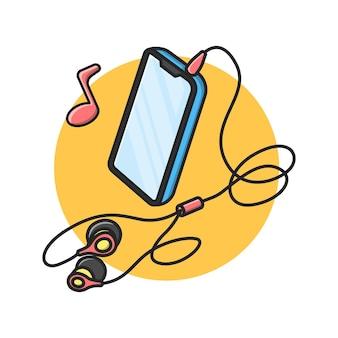 Smartphone-illustratieontwerp met aangesloten hoofdtelefoon headphones