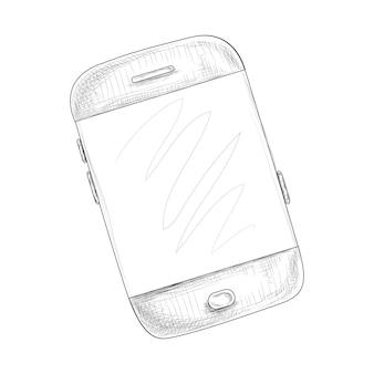Smartphone in de hand getekende stijl vectorillustratie