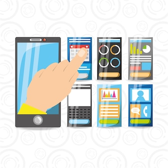 Smartphone in de hand met verschillende elektronische hulpmiddelen