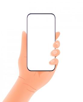 Smartphone in handen die op witte achtergrond worden geïsoleerd.
