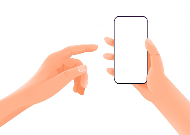 Smartphone in handen met leeg scherm