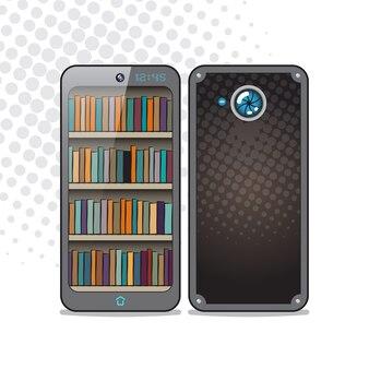 Smartphone in retrostijl, voor- en achterkant