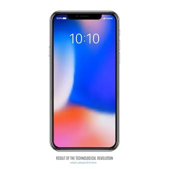 Smartphone in zwarte kleur met gekleurd scherm op witte achtergrond
