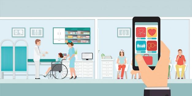 Smartphone innovatieve medische app met ziekenhuis.