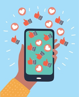Smartphone instagram hart plat ontwerp icoon