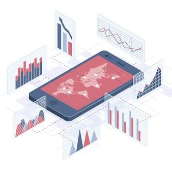 Smartphone isometrisch met zakelijke infographics.