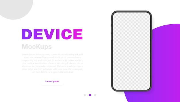 Smartphone leeg scherm, telefoon. nieuw telefoonmodel. sjabloon voor infographics voor presentatie ui-interface. illustratie.