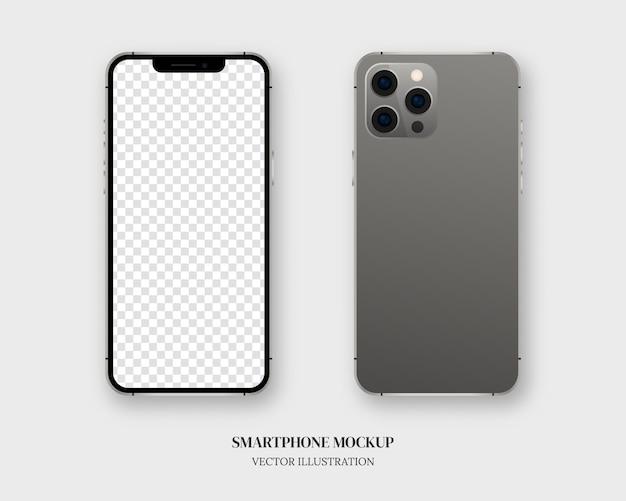 Smartphone. lege smartphone vooraan en achteraan geïsoleerd op een grijze achtergrond.