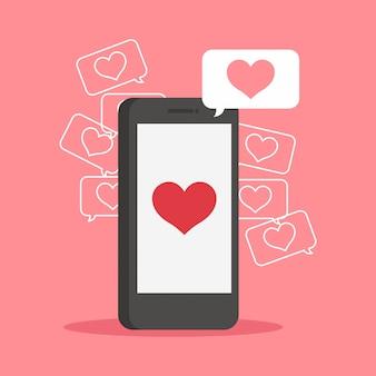 Smartphone. liefdesharten. valentijnsdag