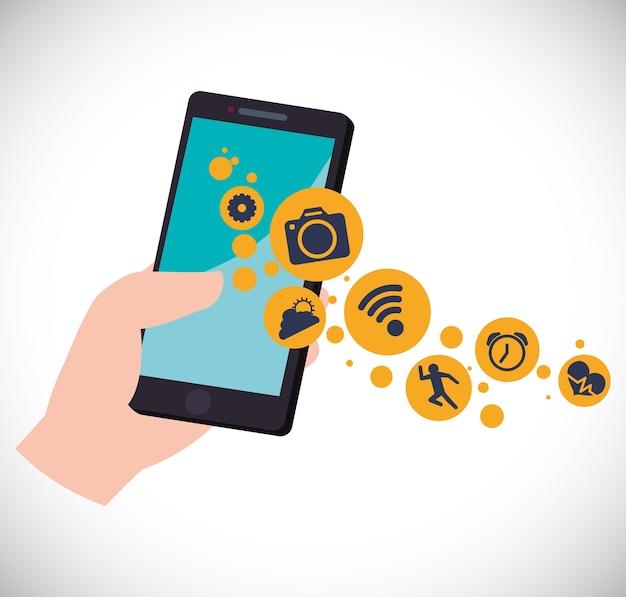 Smartphone met apps draagbare technologie