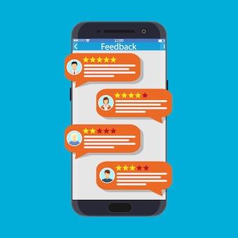 Smartphone met beoordelingsapp. bubble toespraken en avatars. beoordelingen vijf sterren rating met goed en slecht tarief en tekst. getuigenissen, beoordeling, feedback, recensie. vectorillustratie in vlakke stijl