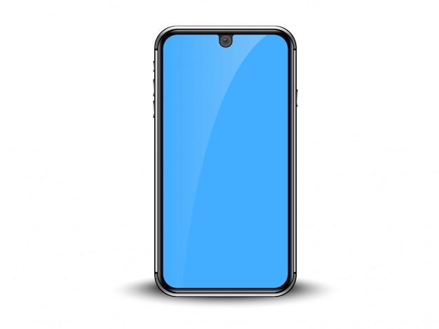 Smartphone met blauwe weergave