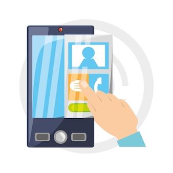 Smartphone met contacten elementen om te praten
